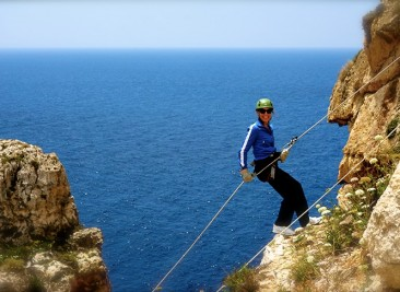 abseiling..