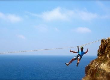 ziplining.